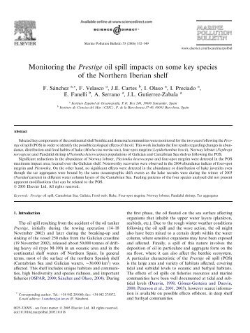 Monitoring the Prestige oil spill impacts on some ... - ResearchGate