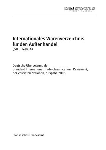 Internationales Warenverzeichnis für den Außenhandel (SITC, Rev. 4)