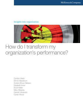 How do I transform my organization's performance? - Human Capital ...