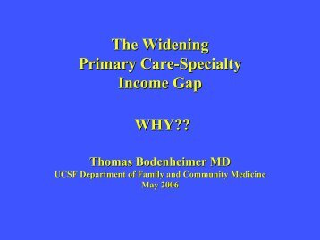 The Widening Primary Care-Specialty Income Gap WHY??