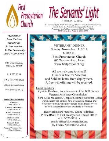 VETERANS' DINNER Sunday, November 11, 2012 6:00 p.m. First ...