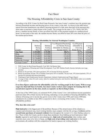 Fact Sheet The Housing Affordability Crisis in San Juan County