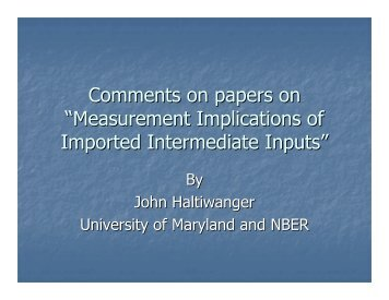 Measurement Implications of Imported Intermediate Inputs