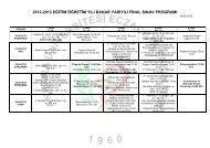 2012-2013 Eğitim-Öğretim Yılı Bahar Dönemi Final Sınav Programı