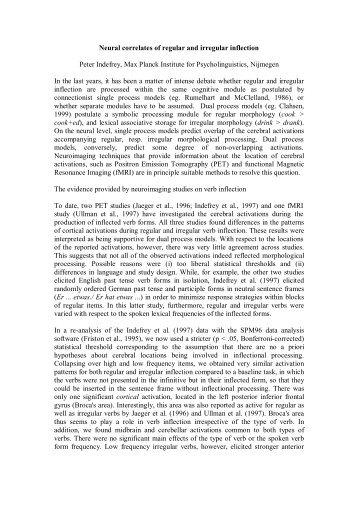 Neural correlates of regular and irregular inflection Peter Indefrey ...