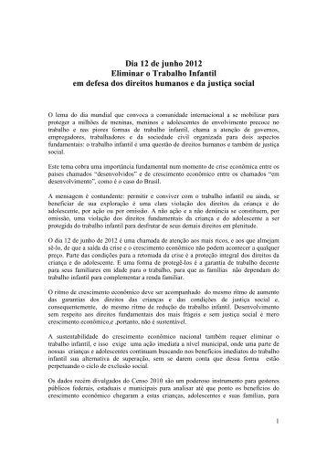 Dia 12 de junho 2012 - Organização Internacional do Trabalho
