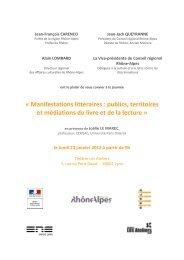 « Manifestations littéraires : publics, territoires et médiations ... - Arald
