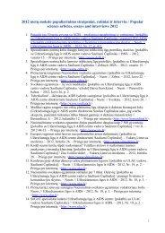 2012 metų mokslo populiarinimo straipsniai, rašiniai ir interviu ...