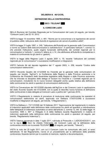 Delibera 46/12/CRL - Corecom Lazio