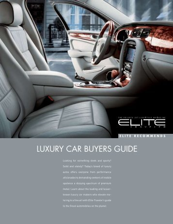 LUXURY CAR BUYERS GUIDE - Elite Traveler
