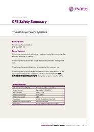 trimethoxyethoxyvinylsilane GPS Safety Summary - Evonik ...