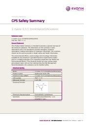 GPS Safety Summary GPS Safety Summary - Evonik Industries