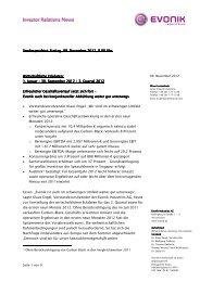 Wirtschaftliche Eckdaten Q3_dt - Evonik Industries AG