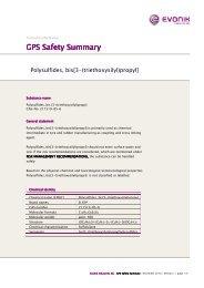polysulfidsilane GPS Safety Summary - Evonik Industries AG