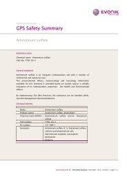 GPS Safety Summary - Evonik Industries