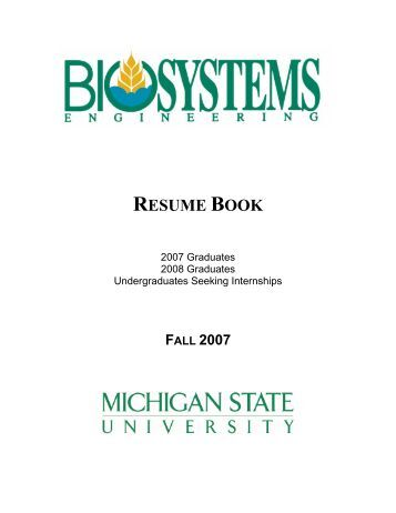 resume book college of engineering michigan state university