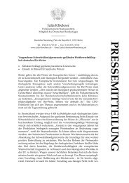 PRESSEMITTEILUNG - Julia Klöckner