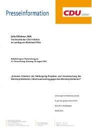 Die Rede von Julia Klöckner - CDU Rheinland-Pfalz