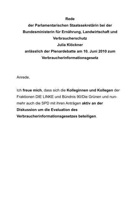 Plenardebatte am 10. Juni 2010 zum ... - Julia Klöckner