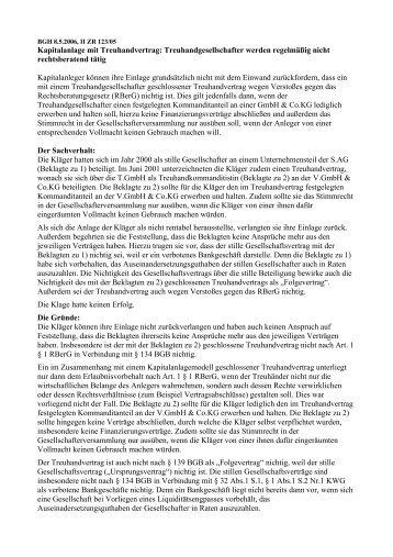 Kapitalanlage mit Treuhandvertrag: Treuhandgesellschafter werden ...