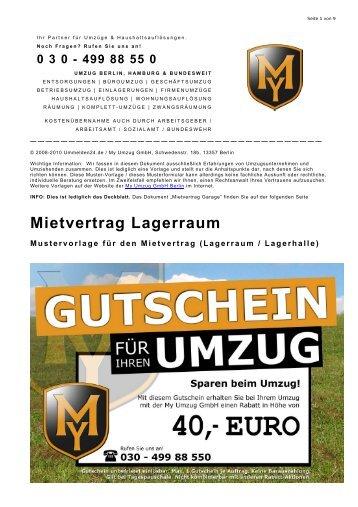 Mietvertrag Garage (Mustervorlage) - Wohnungsauflösung Berlin