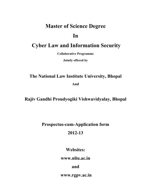 Master of Science Degree In Cyber Law and Information     - Rgpv
