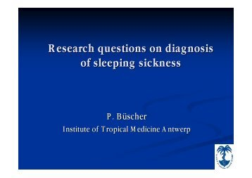 Research questions on diagnosis of sleeping sickness