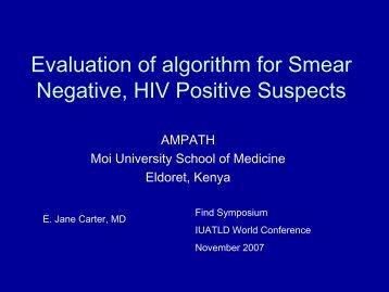 Evaluation of algorithm for Smear Negative, HIV Positive Suspect