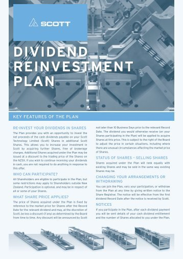 Scott Dividend Reinvestment Plan Features, Terms and Conditions ...