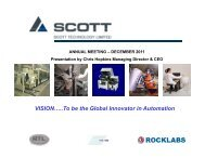 To be the Global Innovator in Automation - Scott Technology Ltd