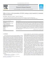 Effect of stress on the passivation of Si-DLC coating as stent ...