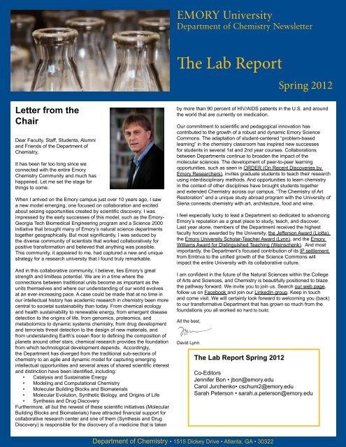 The Lab Report Spring 2012 - Chemistry - Emory University