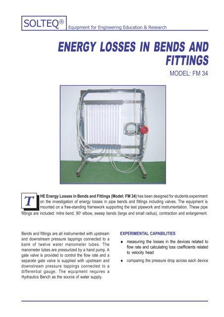ENERGY LOSSES IN BENDS AND FITTINGS - Solution Engineering