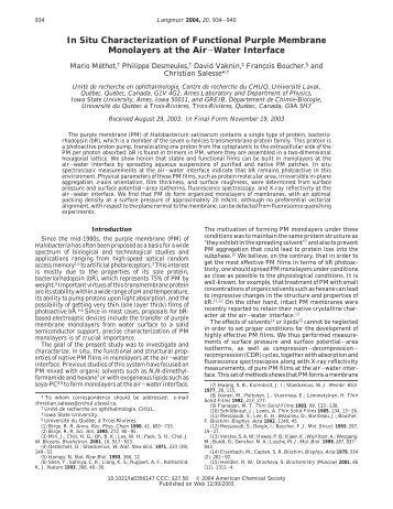 In Situ Characterization of Functional Purple Membrane Monolayers ...