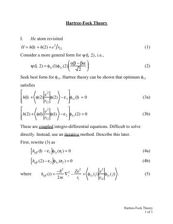 Hartree-Fock Theory - Chemistry