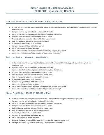 Junior League of Oklahoma City, Inc. 2010-2011 Sponsorship Benefits