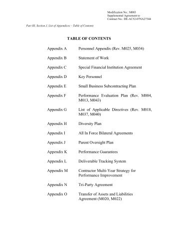 how to stop appendix in table of contents
