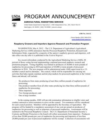 program announcement - Washington Red Raspberry Commission