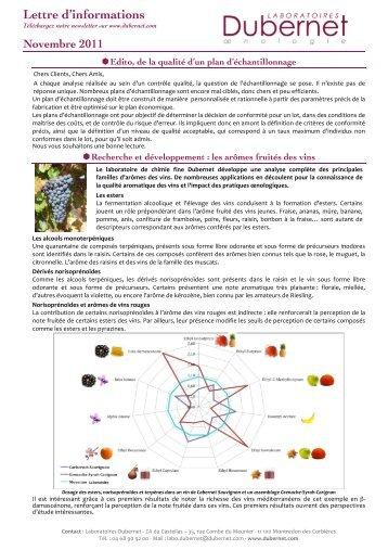 Lettre d'info 04 novembre 2011 - Laboratoires Dubernet