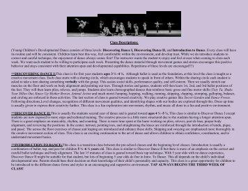 Class Descriptions: (Young Children's Developmental Dance ...