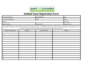 2013 Roster and Waiver Form - City of Harrisonburg