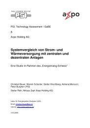 Systemvergleich von Strom- und ... - Energie Trialog Schweiz