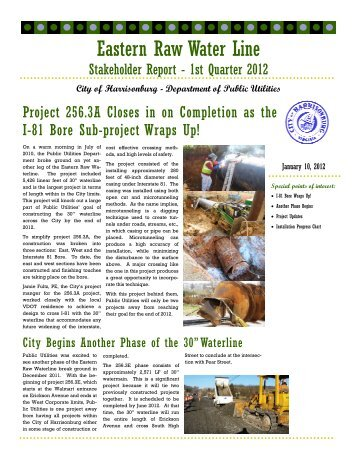 Eastern Raw Waterline Stakeholders Report - 1st Quarter - City of ...