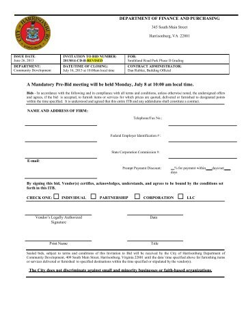 Bid Document - City of Harrisonburg