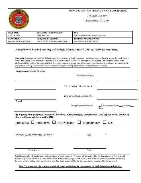 A mandatory Pre-Bid meeting will be held Monday July 8, 2013 at 10 ...