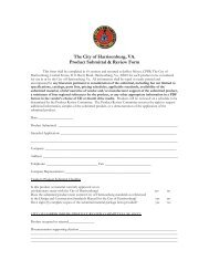 The City of Harrisonburg, VA. Product Submittal & Review Form