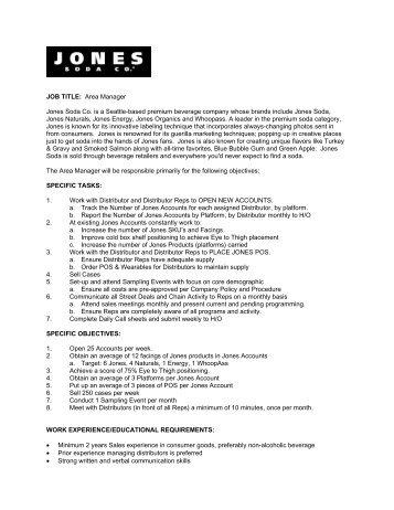 job title area manager jones soda co is a seattle based regional sales manager job - Regional Sales Director Job Description