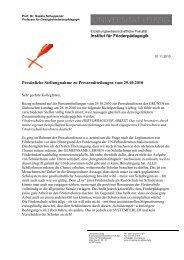 Persönliche Stellungnahme zu Pressemitteilungen vom 29.10.2010 ...
