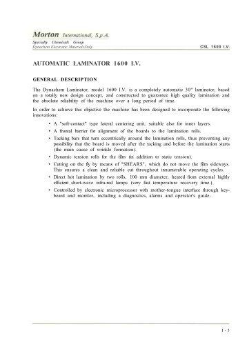 AUTOMATIC LAMINATOR 1600 I.V.