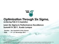 Optimization Through Six Sigma, - Lean Applied